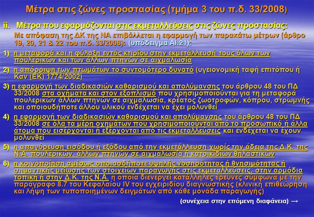 Μέτρα στις ζώνες προστασίας (τμήμα 3 του π.δ. 33/2008 ) ii. Μέτρα που εφαρμόζονται στις εκμεταλλεύσεις στις ζώνες προστασίας: Με απόφαση της ΔΚ της ΝΑ