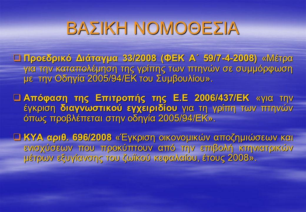 ΒΑΣΙΚΗ ΝΟΜΟΘΕΣΙΑ  Προεδρικό Διάταγμα 33/2008 (ΦΕΚ Α΄ 59/7-4-2008) «Μέτρα για την καταπολέμηση της γρίπης των πτηνών σε συμμόρφωση με την Οδηγία 2005/94/ΕΚ του Συμβουλίου».
