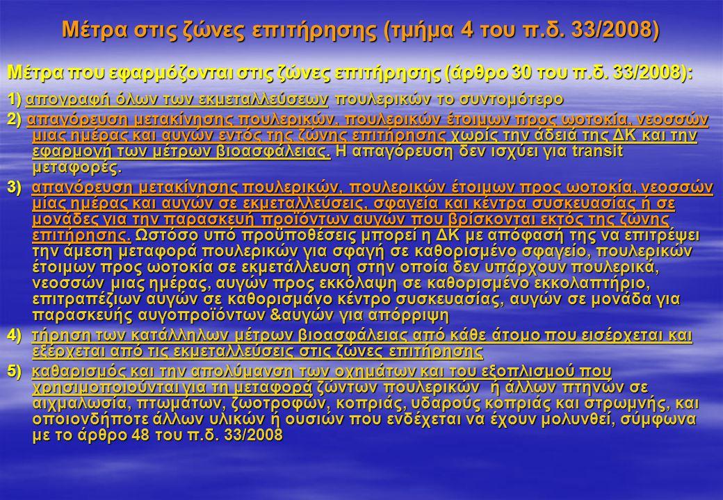Μέτρα στις ζώνες επιτήρησης (τμήμα 4 του π.δ. 33/2008) Μέτρα που εφαρμόζονται στις ζώνες επιτήρησης (άρθρο 30 του π.δ. 33/2008): 1) απογραφή όλων των