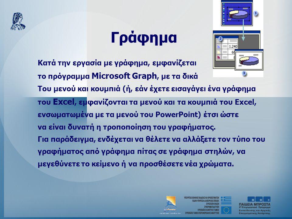 Γράφημα Κατά την εργασία με γράφημα, εμφανίζεται το πρόγραμμα Microsoft Graph, με τα δικά Του μενού και κουμπιά (ή, εάν έχετε εισαγάγει ένα γράφημα το