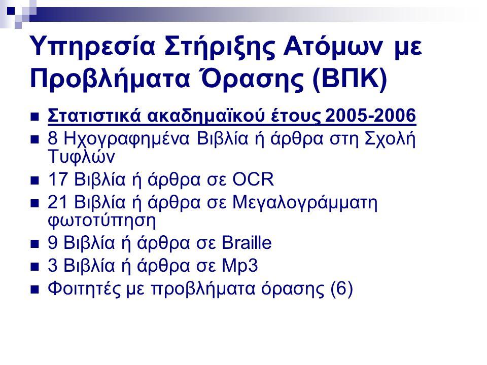 Υπηρεσία Στήριξης Ατόμων με Προβλήματα Όρασης (ΒΠΚ)  Στατιστικά ακαδημαϊκού έτους 2005-2006  8 Ηχογραφημένα Βιβλία ή άρθρα στη Σχολή Τυφλών  17 Βιβ