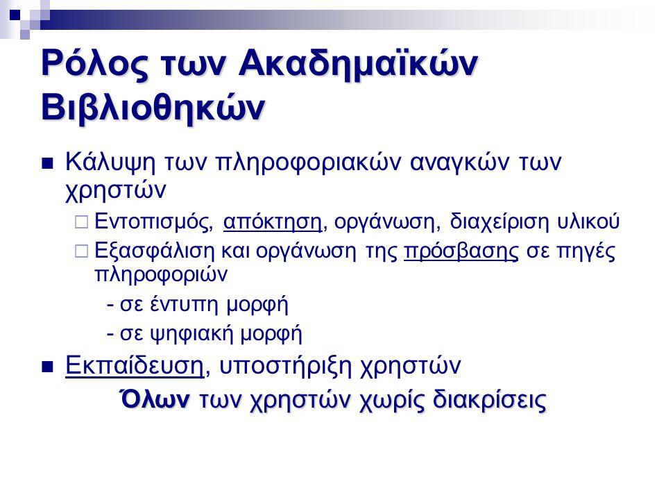 Ρόλος των Ακαδημαϊκών Βιβλιοθηκών  Κάλυψη των πληροφοριακών αναγκών των χρηστών  Εντοπισμός, απόκτηση, οργάνωση, διαχείριση υλικού  Εξασφάλιση και