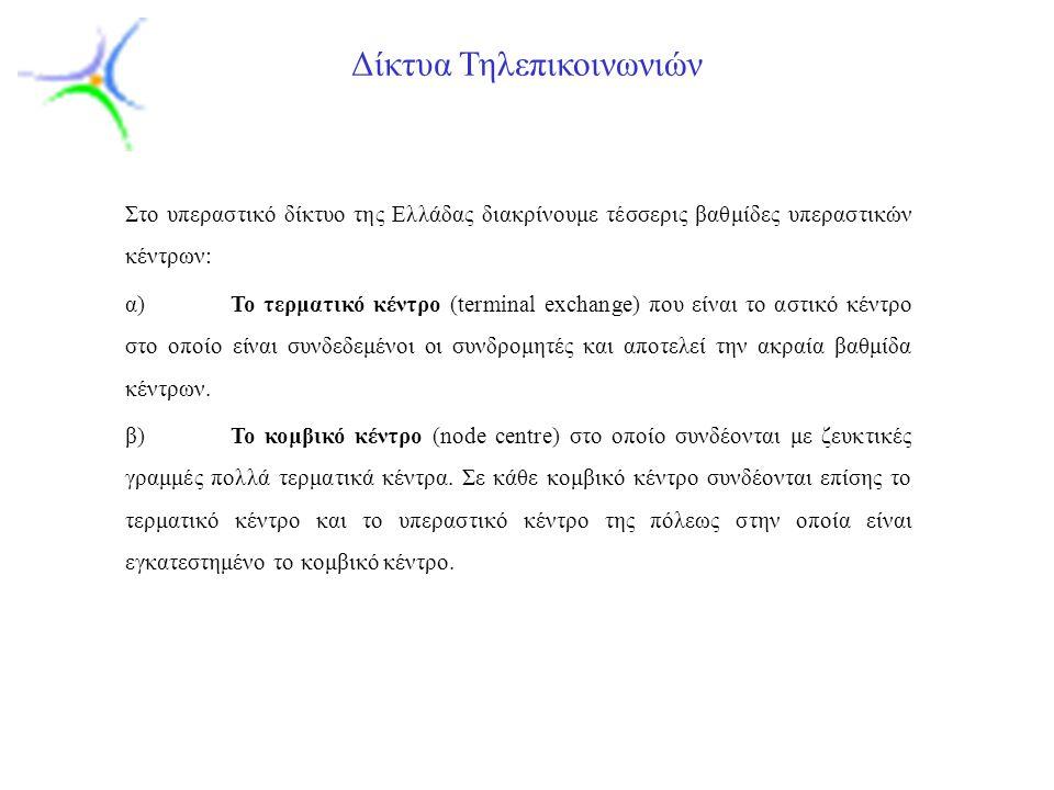 Slide 12 Δίκτυα Τηλεπικοινωνιών Στο υπεραστικό δίκτυο της Ελλάδας διακρίνουμε τέσσερις βαθμίδες υπεραστικών κέντρων: α)Το τερματικό κέντρο (terminal e