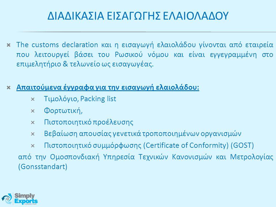  The customs declaration και η εισαγωγή ελαιολάδου γίνονται από εταιρεία που λειτουργεί βάσει του Ρωσικού νόμου και είναι εγγεγραμμένη στο επιμελητήρ