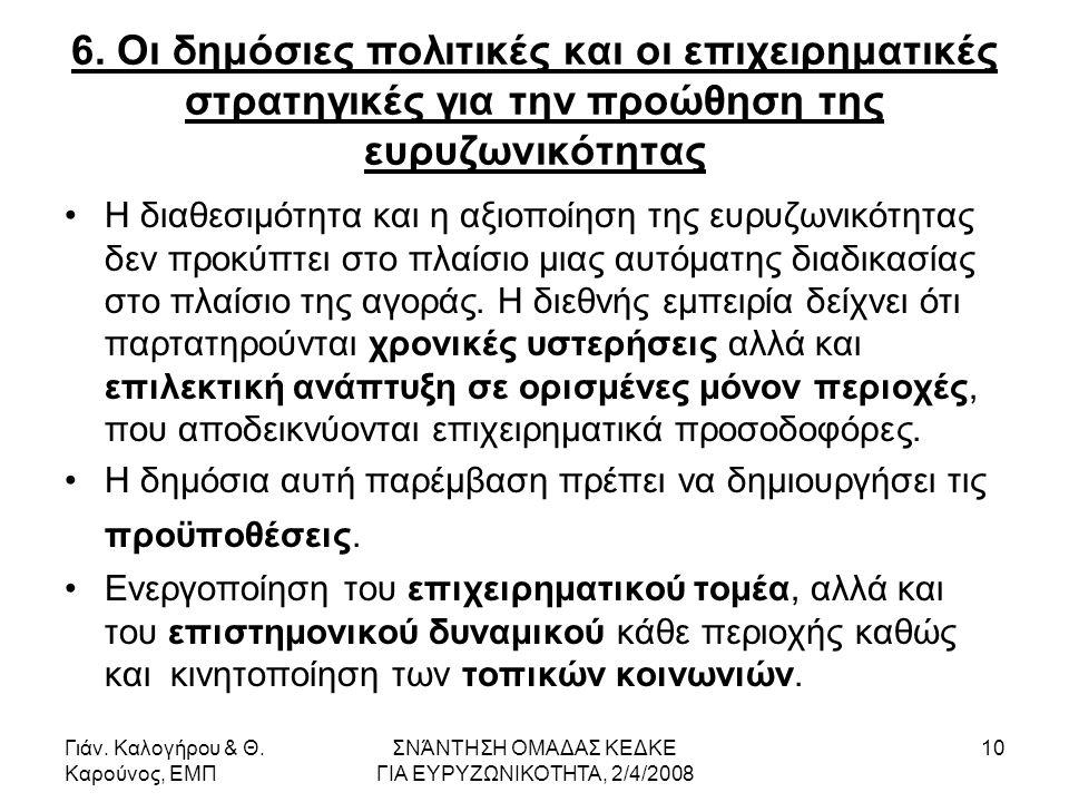 Γιάν. Καλογήρου & Θ. Καρούνος, ΕΜΠ ΣΝΆΝΤΗΣΗ ΟΜΑΔΑΣ ΚΕΔΚΕ ΓΙΑ ΕΥΡΥΖΩΝΙΚΟΤΗΤΑ, 2/4/2008 10 6.