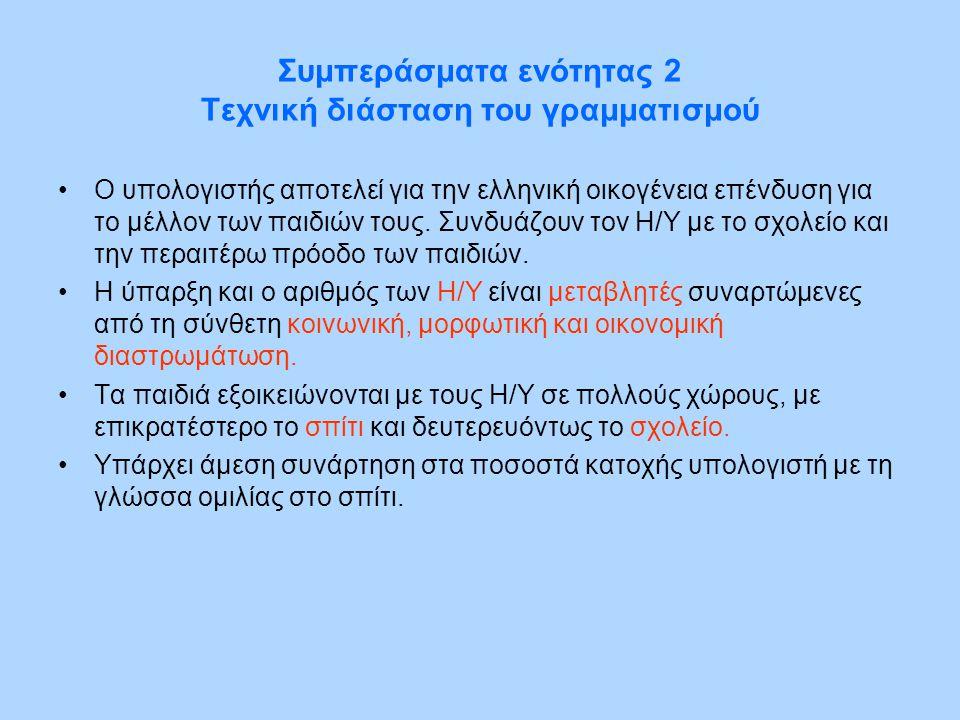 Συμπεράσματα ενότητας 2 Τεχνική διάσταση του γραμματισμού •Ο υπολογιστής αποτελεί για την ελληνική οικογένεια επένδυση για το μέλλον των παιδιών τους.