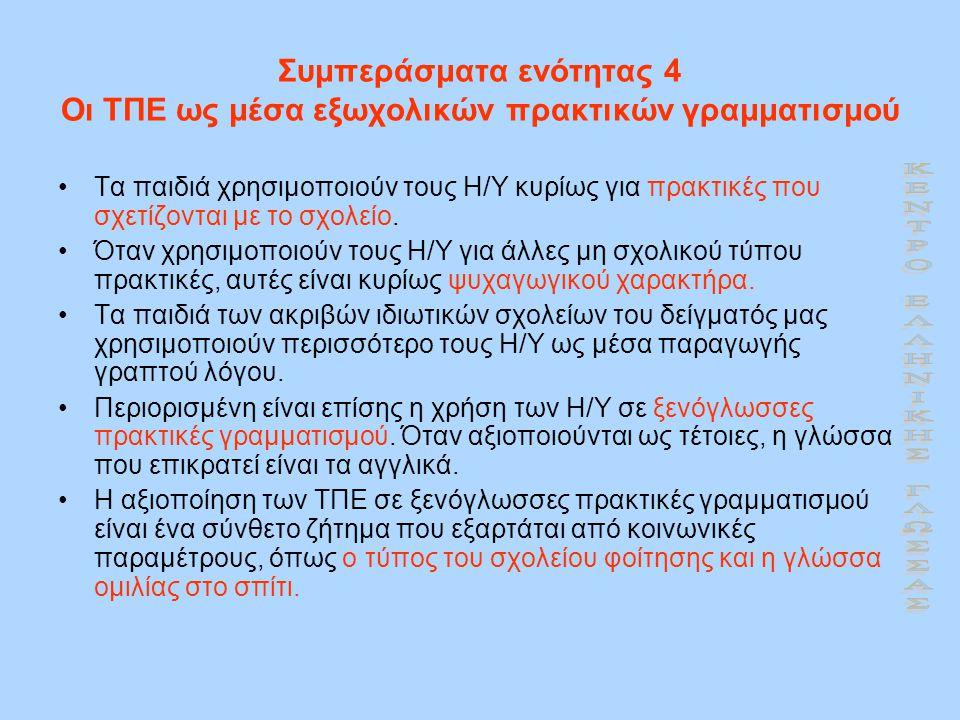 Συμπεράσματα ενότητας 4 Οι ΤΠΕ ως μέσα εξωχολικών πρακτικών γραμματισμού •Τα παιδιά χρησιμοποιούν τους Η/Υ κυρίως για πρακτικές που σχετίζονται με το