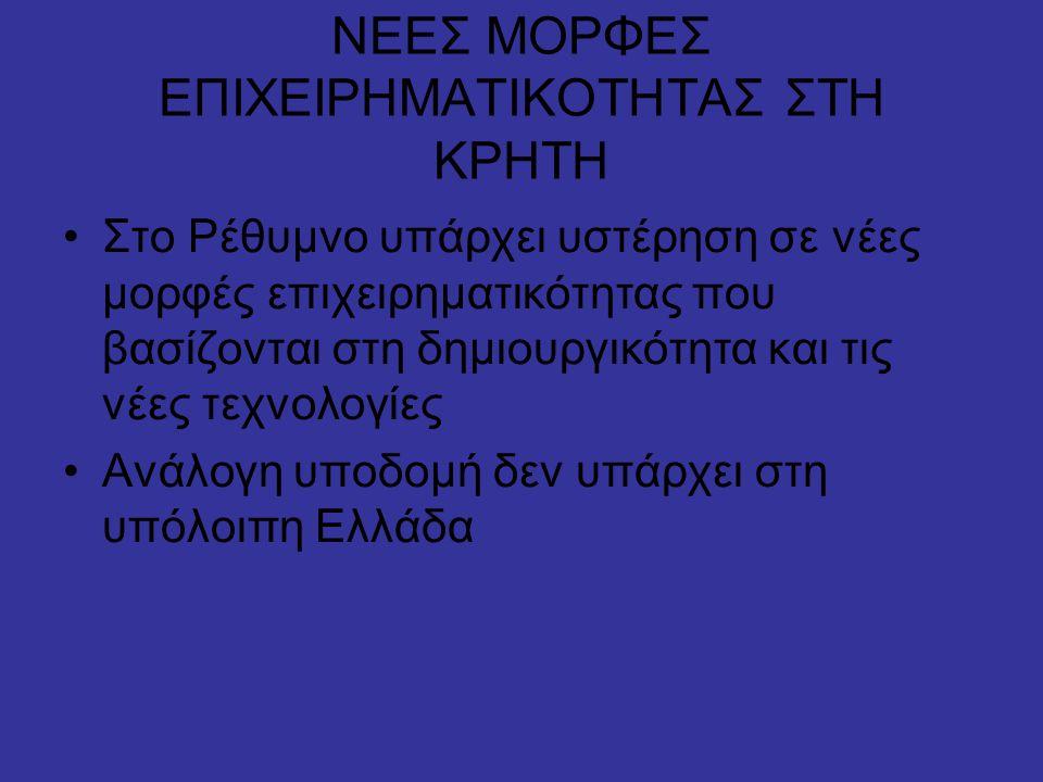 ΝΕΕΣ ΜΟΡΦΕΣ ΕΠΙΧΕΙΡΗΜΑΤΙΚΟΤΗΤΑΣ ΣΤΗ ΚΡΗΤΗ •Στο Ρέθυμνο υπάρχει υστέρηση σε νέες μορφές επιχειρηματικότητας που βασίζονται στη δημιουργικότητα και τις νέες τεχνολογίες •Ανάλογη υποδομή δεν υπάρχει στη υπόλοιπη Ελλάδα