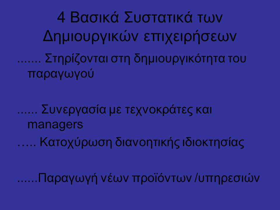 4 Βασικά Συστατικά των Δημιουργικών επιχειρήσεων.......