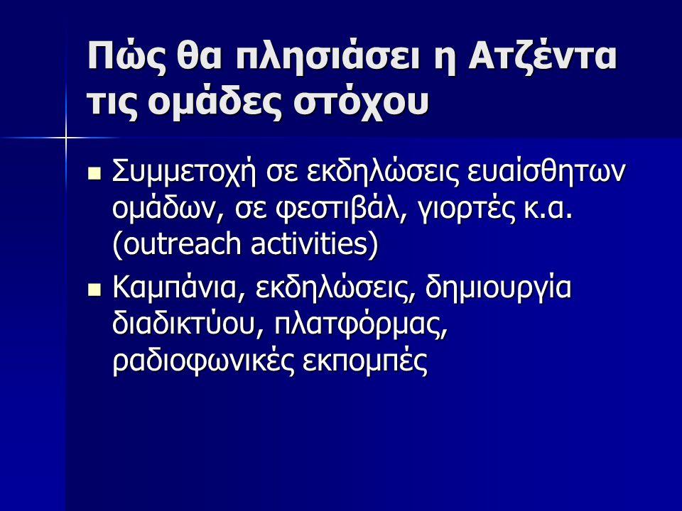 Πώς θα πλησιάσει η Ατζέντα τις ομάδες στόχου  Συμμετοχή σε εκδηλώσεις ευαίσθητων ομάδων, σε φεστιβάλ, γιορτές κ.α. (outreach activities)  Καμπάνια,