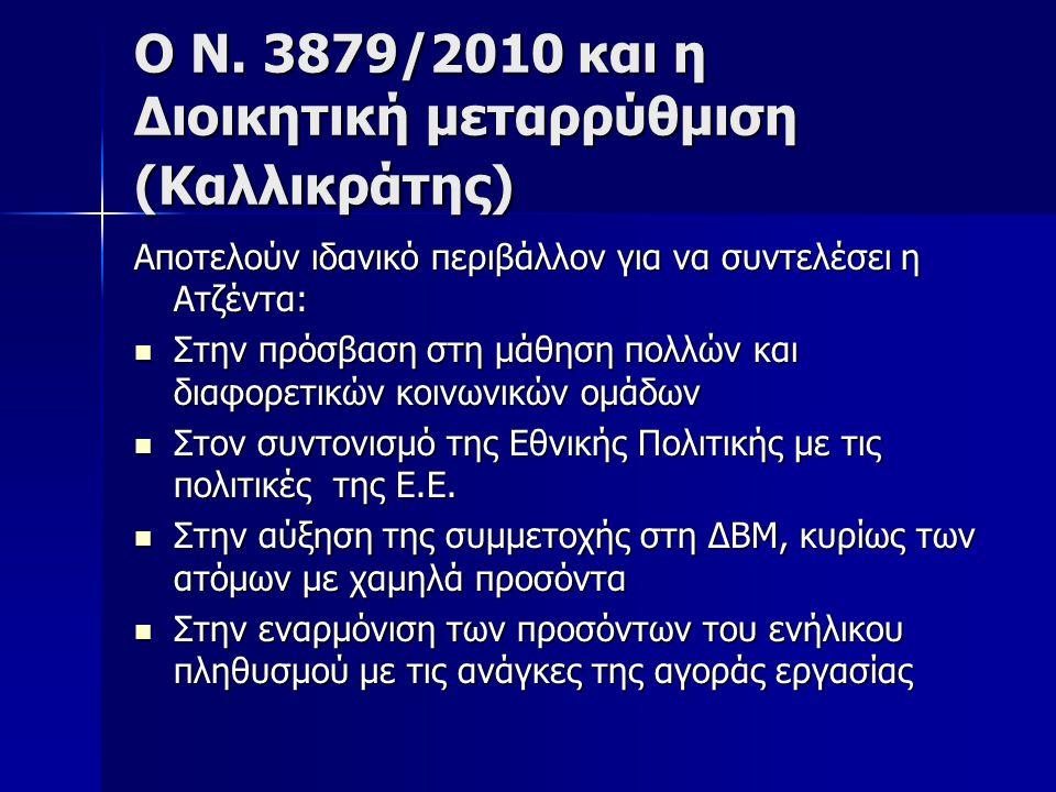 Ο Ν. 3879/2010 και η Διοικητική μεταρρύθμιση (Καλλικράτης) Αποτελούν ιδανικό περιβάλλον για να συντελέσει η Ατζέντα:  Στην πρόσβαση στη μάθηση πολλών