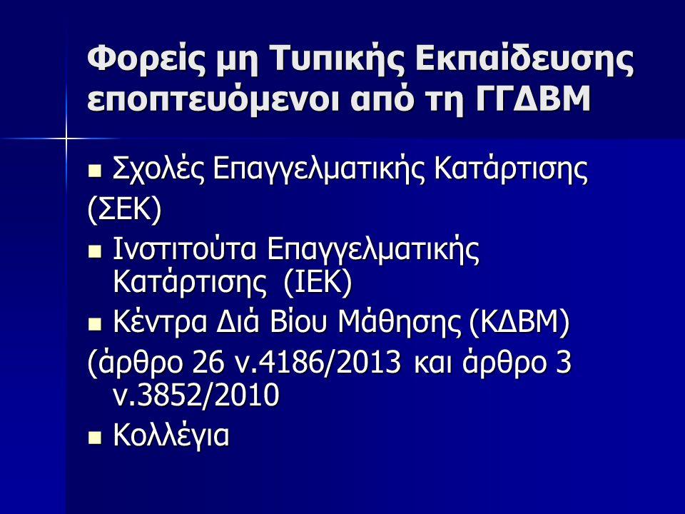 Φορείς μη Τυπικής Εκπαίδευσης εποπτευόμενοι από τη ΓΓΔΒΜ  Σχολές Επαγγελματικής Κατάρτισης (ΣΕΚ)  Ινστιτούτα Επαγγελματικής Κατάρτισης (ΙΕΚ)  Κέντρ