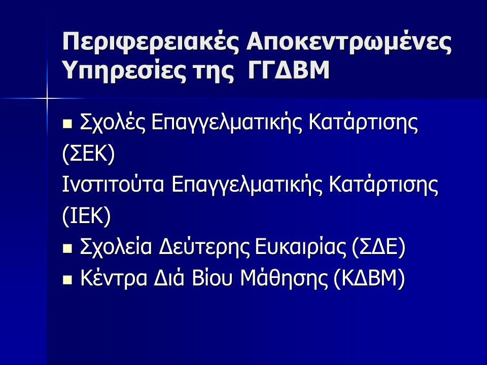 Περιφερειακές Αποκεντρωμένες Υπηρεσίες της ΓΓΔΒΜ  Σχολές Επαγγελματικής Κατάρτισης (ΣΕΚ) Ινστιτούτα Επαγγελματικής Κατάρτισης (ΙΕΚ)  Σχολεία Δεύτερη