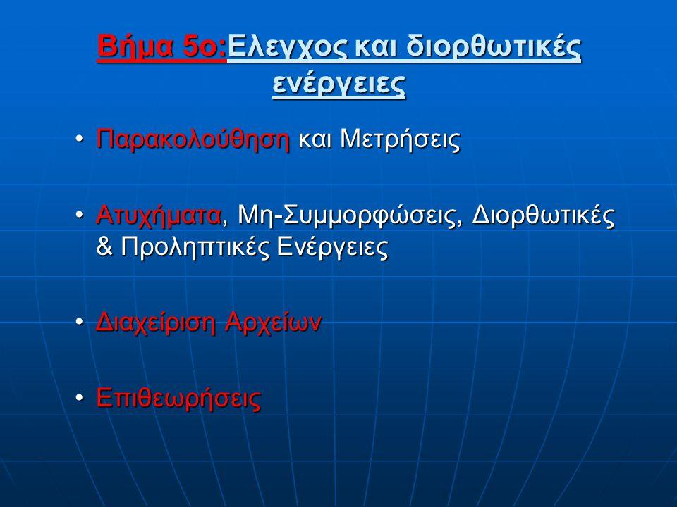 Βήμα 5o:Eλεγχος και διορθωτικές ενέργειες •Παρακολούθηση και Μετρήσεις •Ατυχήματα, Μη-Συμμορφώσεις, Διορθωτικές & Προληπτικές Ενέργειες •Διαχείριση Αρ