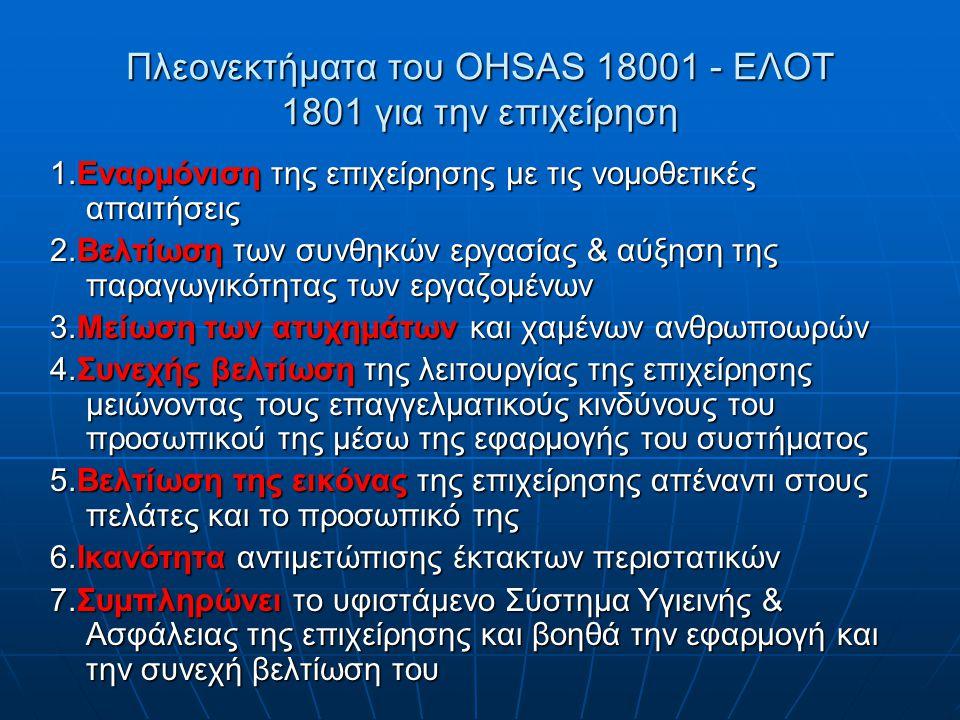 Πλεονεκτήματα του OHSAS 18001 - ΕΛΟΤ 1801 για την επιχείρηση 1.Eναρμόνιση της επιχείρησης με τις νομοθετικές απαιτήσεις 2.Βελτίωση των συνθηκών εργασί