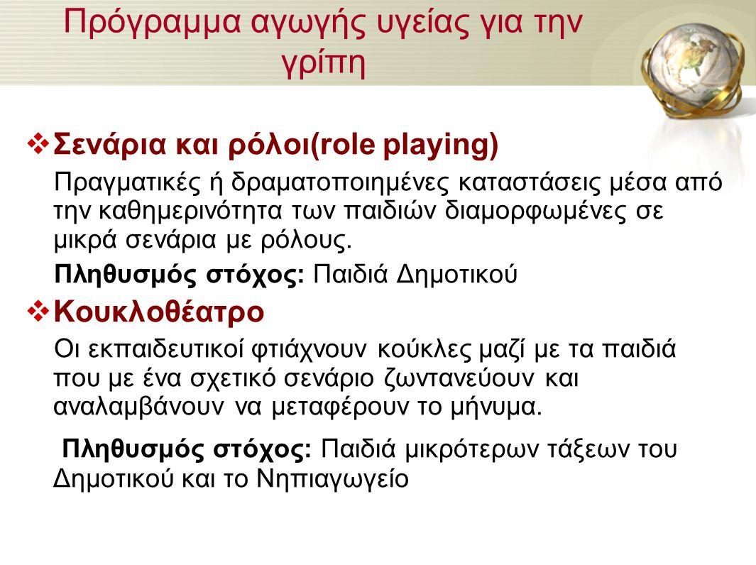 Πρόγραμμα αγωγής υγείας για την γρίπη  Σενάρια και ρόλοι(role playing) Πραγματικές ή δραματοποιημένες καταστάσεις μέσα από την καθημερινότητα των παι