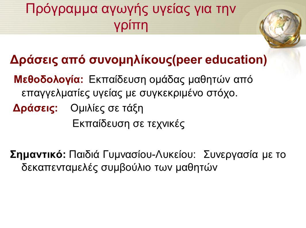 Πρόγραμμα αγωγής υγείας για την γρίπη Δράσεις από συνομηλίκους(peer education) Μεθοδολογία: Εκπαίδευση ομάδας μαθητών από επαγγελματίες υγείας με συγκ