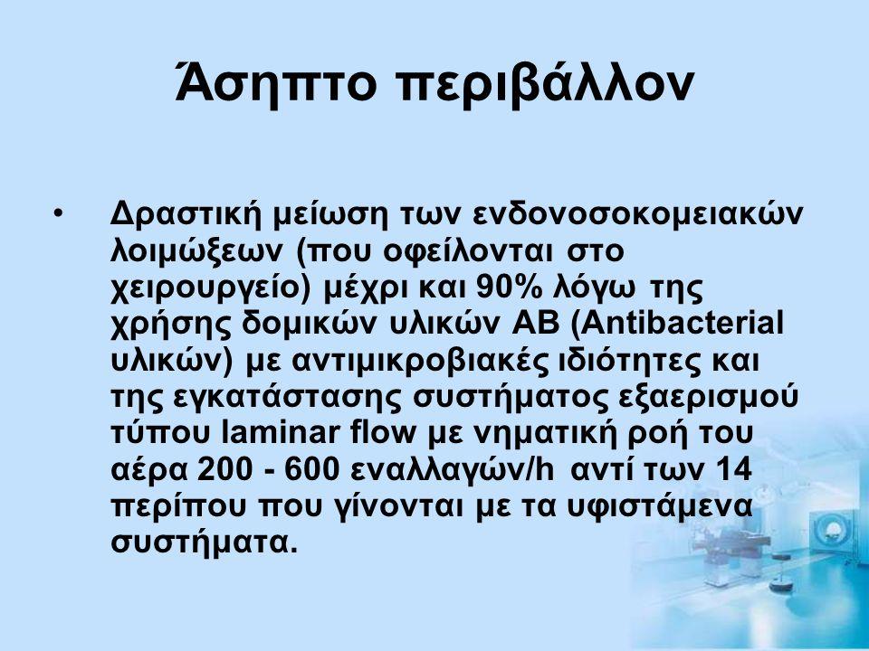 Άσηπτο περιβάλλον •Δραστική μείωση των ενδονοσοκομειακών λοιμώξεων (που οφείλονται στο χειρουργείο) μέχρι και 90% λόγω της χρήσης δομικών υλικών ΑΒ (A