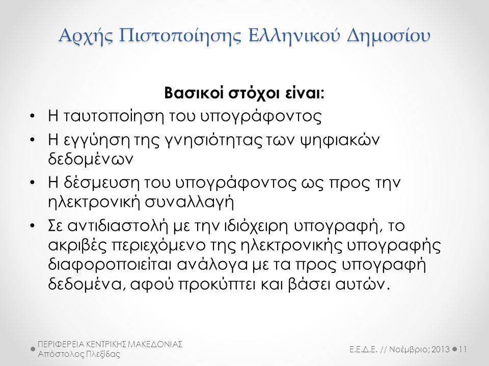 Αρχής Πιστοποίησης Ελληνικού Δημοσίου Βασικοί στόχοι είναι: • Η ταυτοποίηση του υπογράφοντος • Η εγγύηση της γνησιότητας των ψηφιακών δεδομένων • Η δέσμευση του υπογράφοντος ως προς την ηλεκτρονική συναλλαγή • Σε αντιδιαστολή με την ιδιόχειρη υπογραφή, το ακριβές περιεχόμενο της ηλεκτρονικής υπογραφής διαφοροποιείται ανάλογα με τα προς υπογραφή δεδομένα, αφού προκύπτει και βάσει αυτών.