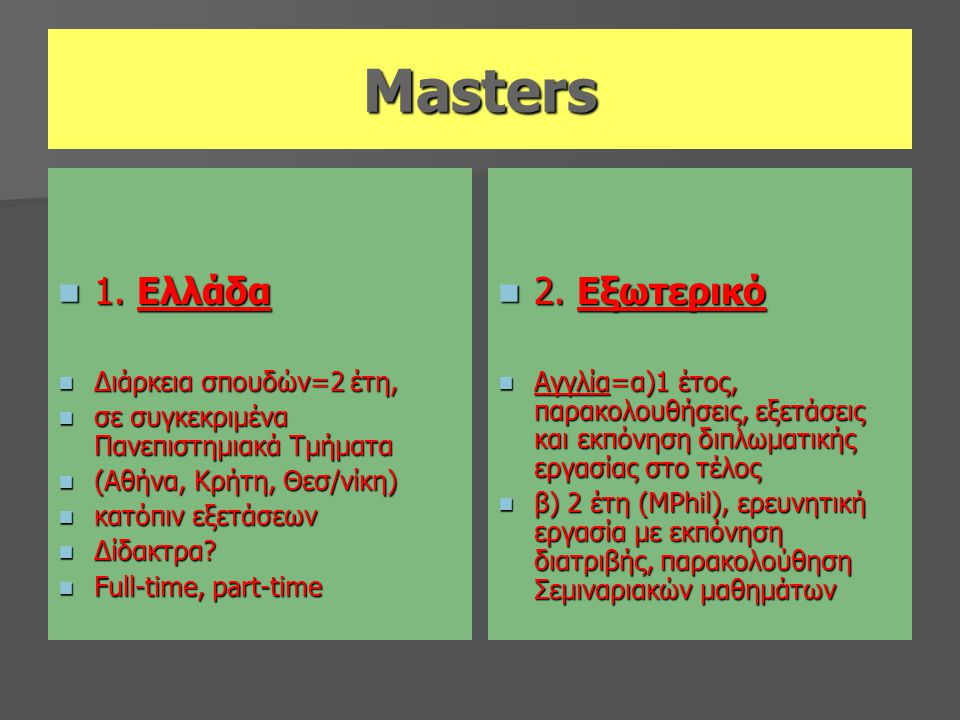 Masters  1. Ελλάδα  Διάρκεια σπουδών=2 έτη,  σε συγκεκριμένα Πανεπιστημιακά Τμήματα  (Αθήνα, Κρήτη, Θεσ/νίκη)  κατόπιν εξετάσεων  Δίδακτρα?  Fu