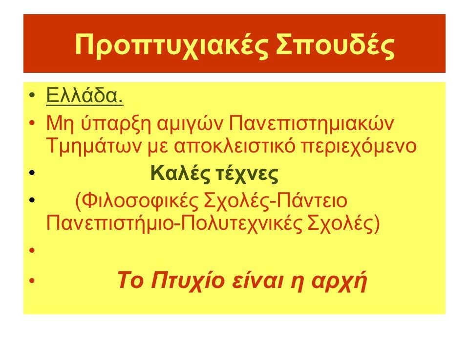 Προπτυχιακές Σπουδές •Ελλάδα. •Μη ύπαρξη αμιγών Πανεπιστημιακών Τμημάτων με αποκλειστικό περιεχόμενο • Καλές τέχνες • (Φιλοσοφικές Σχολές-Πάντειο Πανε