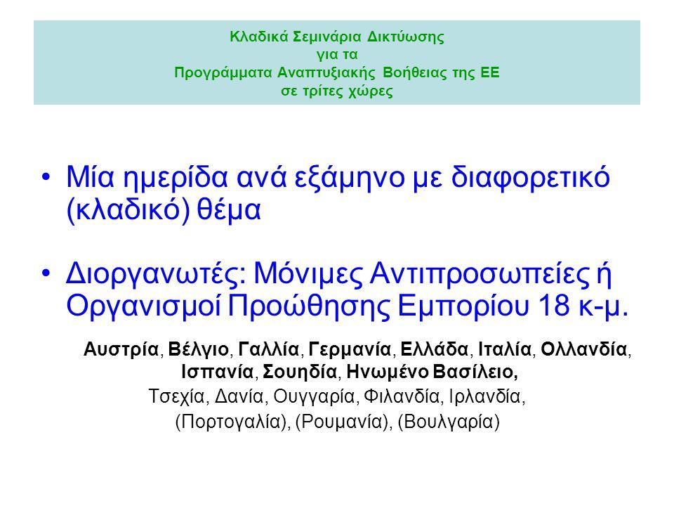Κλαδικά Σεμινάρια Δικτύωσης για τα Προγράμματα Αναπτυξιακής Βοήθειας της ΕΕ σε τρίτες χώρες •Μία ημερίδα ανά εξάμηνο με διαφορετικό (κλαδικό) θέμα •Διοργανωτές: Μόνιμες Αντιπροσωπείες ή Οργανισμοί Προώθησης Εμπορίου 18 κ-μ.