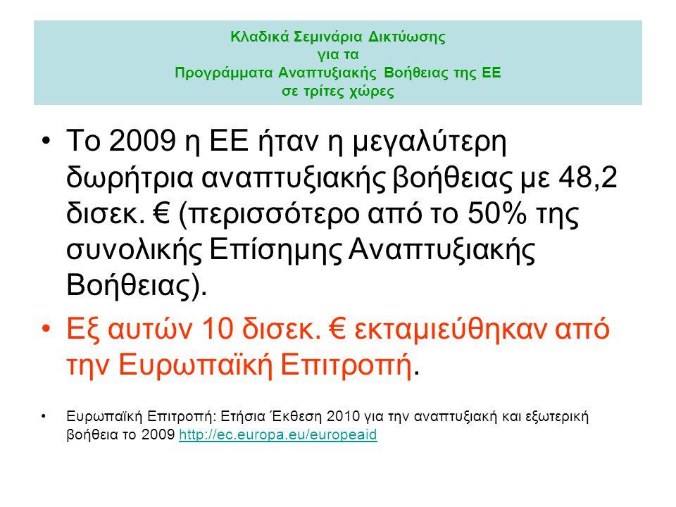 Κλαδικά Σεμινάρια Δικτύωσης για τα Προγράμματα Αναπτυξιακής Βοήθειας της ΕΕ σε τρίτες χώρες •Το 2009 η ΕΕ ήταν η μεγαλύτερη δωρήτρια αναπτυξιακής βοήθ