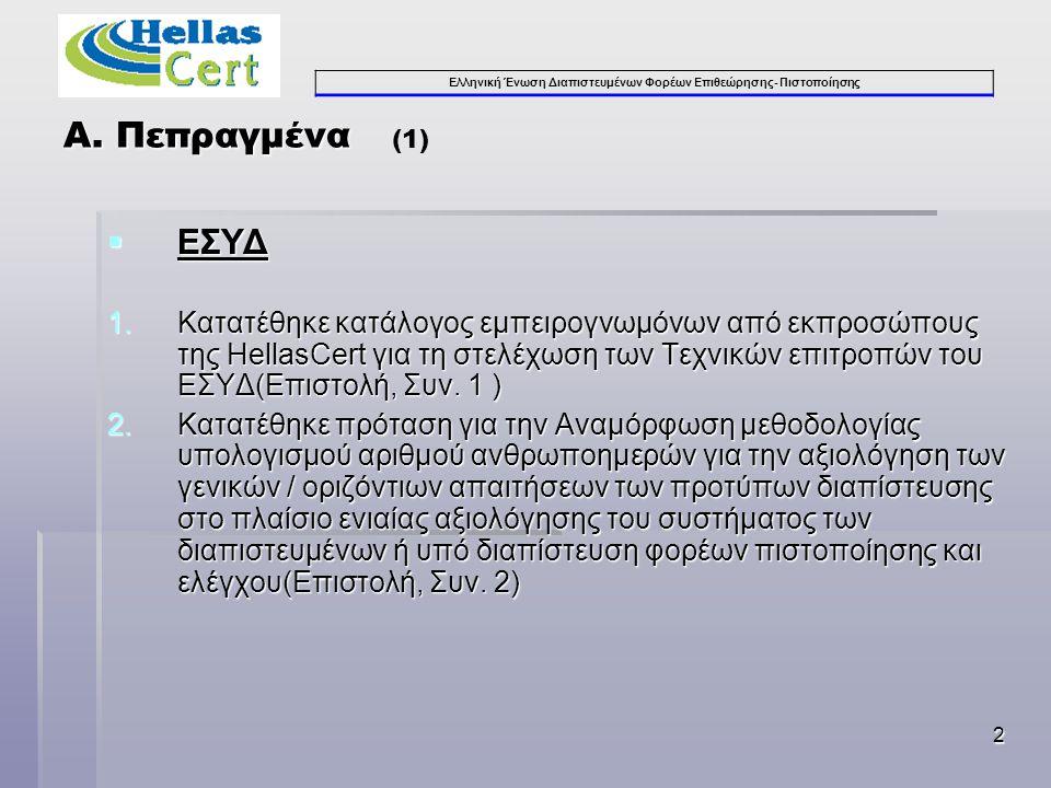Ελληνική Ένωση Διαπιστευμένων Φορέων Επιθεώρησης- Πιστοποίησης 2 Α. Πεπραγμένα Α. Πεπραγμένα (1)  ΕΣΥΔ 1.Κατατέθηκε κατάλογος εμπειρογνωμόνων από εκπ