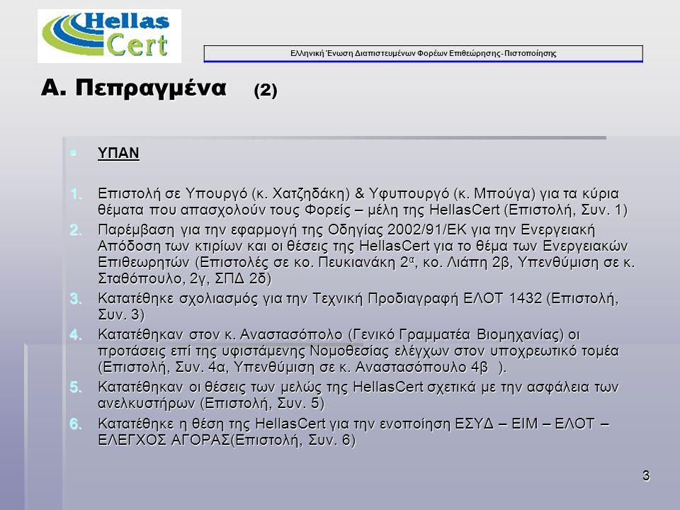 Ελληνική Ένωση Διαπιστευμένων Φορέων Επιθεώρησης- Πιστοποίησης 3  ΥΠΑΝ 1.Επιστολή σε Υπουργό (κ. Χατζηδάκη) & Υφυπουργό (κ. Μπούγα) για τα κύρια θέμα