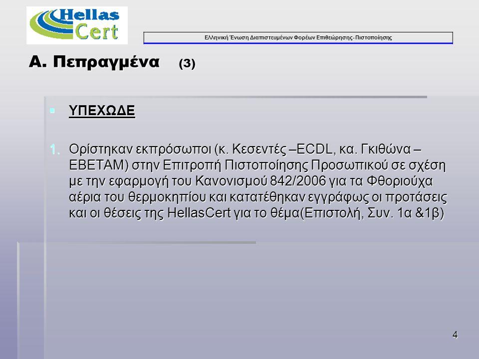 Ελληνική Ένωση Διαπιστευμένων Φορέων Επιθεώρησης- Πιστοποίησης 4  ΥΠΕΧΩΔΕ 1.Ορίστηκαν εκπρόσωποι (κ. Κεσεντές –ECDL, κα. Γκιθώνα – ΕΒΕΤΑΜ) στην Επιτρ