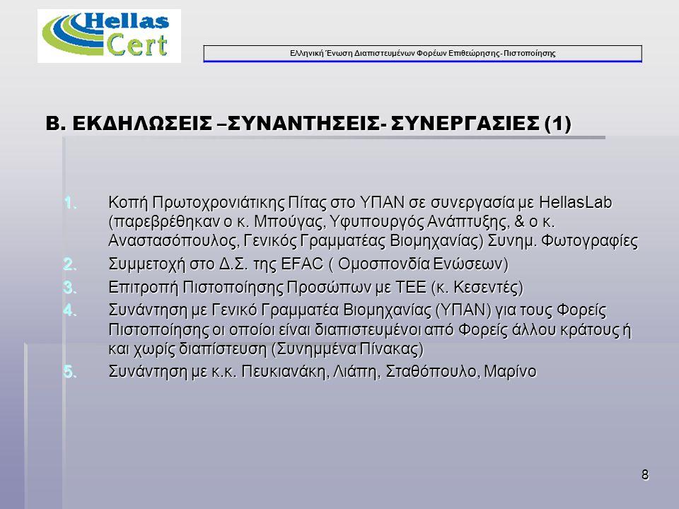 Ελληνική Ένωση Διαπιστευμένων Φορέων Επιθεώρησης- Πιστοποίησης 8 Β. ΕΚΔΗΛΩΣΕΙΣ –ΣΥΝΑΝΤΗΣΕΙΣ- ΣΥΝΕΡΓΑΣΙΕΣ (1) 1.Κοπή Πρωτοχρονιάτικης Πίτας στο ΥΠΑΝ σε