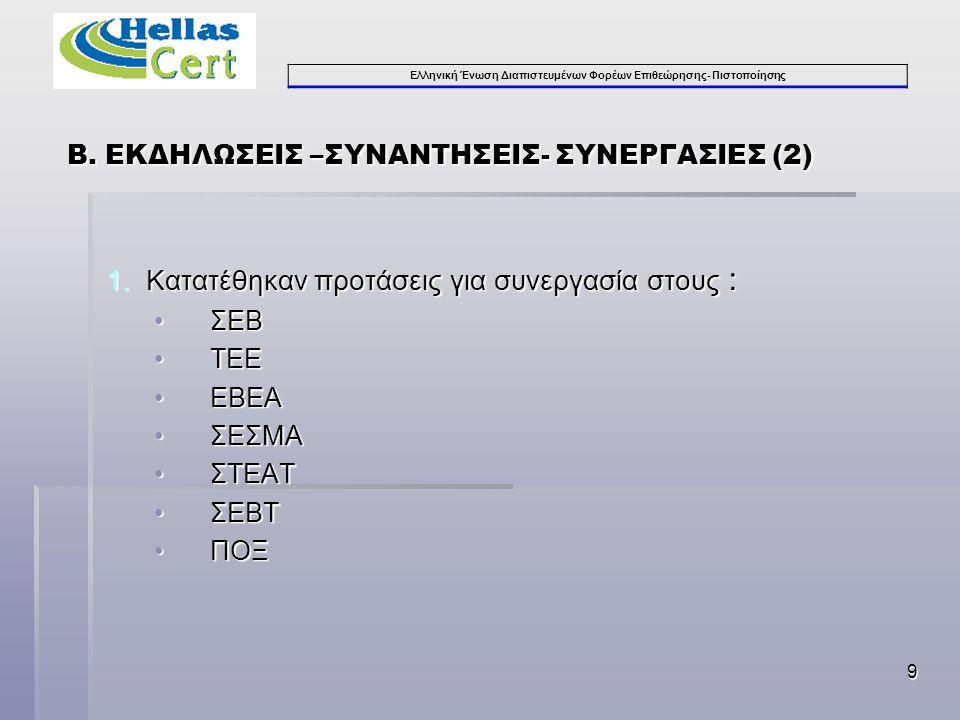 Ελληνική Ένωση Διαπιστευμένων Φορέων Επιθεώρησης- Πιστοποίησης 9 1.Κατατέθηκαν προτάσεις για συνεργασία στους : •ΣΕΒ •ΤΕΕ •ΕΒΕΑ •ΣΕΣΜΑ •ΣΤΕΑΤ •ΣΕΒΤ •ΠΟΞ Β.