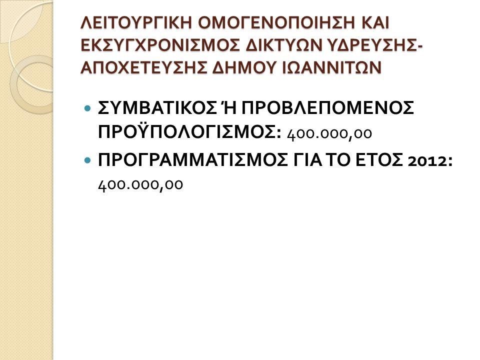 ΛΕΙΤΟΥΡΓΙΚΗ ΟΜΟΓΕΝΟΠΟΙΗΣΗ ΚΑΙ ΕΚΣΥΓΧΡΟΝΙΣΜΟΣ ΔΙΚΤΥΩΝ ΥΔΡΕΥΣΗΣ - ΑΠΟΧΕΤΕΥΣΗΣ ΔΗΜΟΥ ΙΩΑΝΝΙΤΩΝ  ΣΥΜΒΑΤΙΚΟΣ Ή ΠΡΟΒΛΕΠΟΜΕΝΟΣ ΠΡΟΫΠΟΛΟΓΙΣΜΟΣ : 400.000,00  ΠΡΟΓΡΑΜΜΑΤΙΣΜΟΣ ΓΙΑ ΤΟ ΕΤΟΣ 2012: 400.000,00