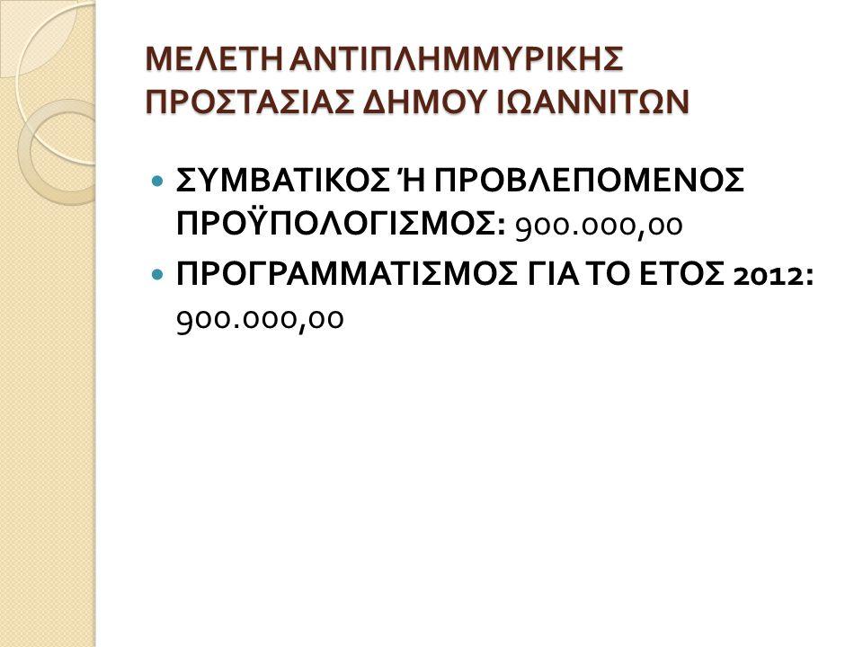 ΜΕΛΕΤΗ ΑΝΤΙΠΛΗΜΜΥΡΙΚΗΣ ΠΡΟΣΤΑΣΙΑΣ ΔΗΜΟΥ ΙΩΑΝΝΙΤΩΝ  ΣΥΜΒΑΤΙΚΟΣ Ή ΠΡΟΒΛΕΠΟΜΕΝΟΣ ΠΡΟΫΠΟΛΟΓΙΣΜΟΣ : 900.000,00  ΠΡΟΓΡΑΜΜΑΤΙΣΜΟΣ ΓΙΑ ΤΟ ΕΤΟΣ 2012: 900.000