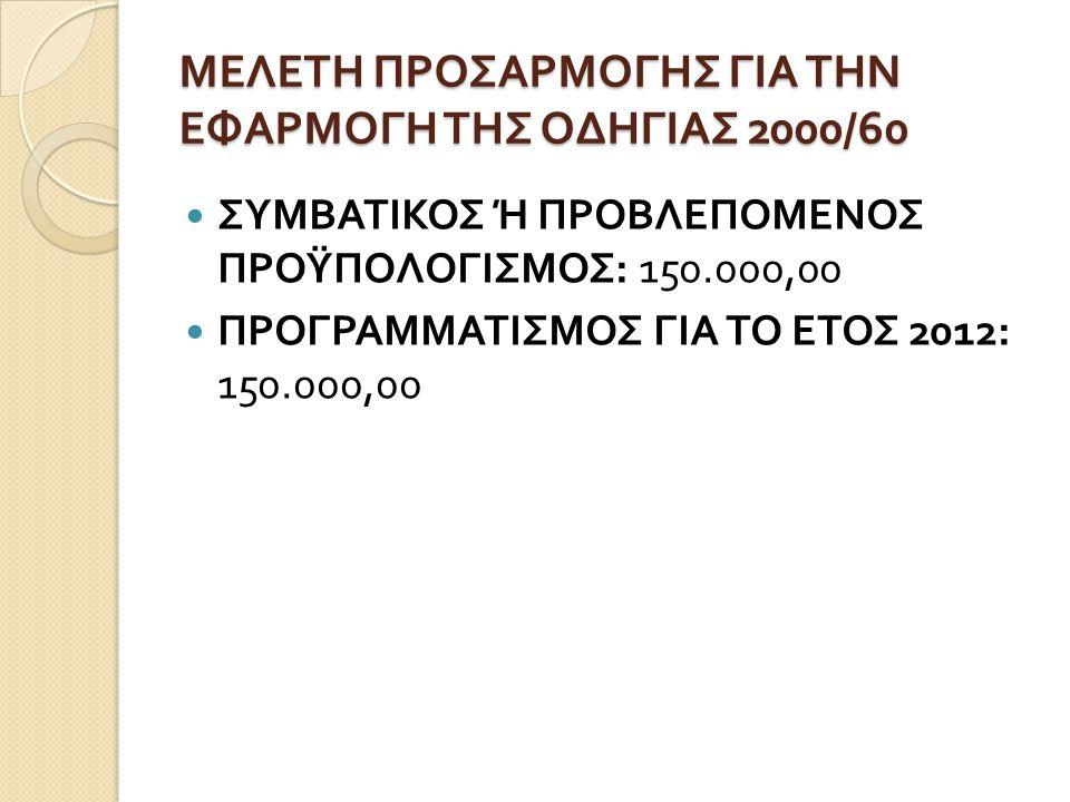 ΜΕΛΕΤΗ ΠΡΟΣΑΡΜΟΓΗΣ ΓΙΑ ΤΗΝ ΕΦΑΡΜΟΓΗ ΤΗΣ ΟΔΗΓΙΑΣ 2000/60  ΣΥΜΒΑΤΙΚΟΣ Ή ΠΡΟΒΛΕΠΟΜΕΝΟΣ ΠΡΟΫΠΟΛΟΓΙΣΜΟΣ : 150.000,00  ΠΡΟΓΡΑΜΜΑΤΙΣΜΟΣ ΓΙΑ ΤΟ ΕΤΟΣ 2012: 1