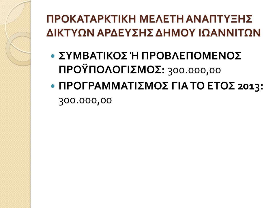 ΠΡΟΚΑΤΑΡΚΤΙΚΗ ΜΕΛΕΤΗ ΑΝΑΠΤΥΞΗΣ ΔΙΚΤΥΩΝ ΑΡΔΕΥΣΗΣ ΔΗΜΟΥ ΙΩΑΝΝΙΤΩΝ  ΣΥΜΒΑΤΙΚΟΣ Ή ΠΡΟΒΛΕΠΟΜΕΝΟΣ ΠΡΟΫΠΟΛΟΓΙΣΜΟΣ : 300.000,00  ΠΡΟΓΡΑΜΜΑΤΙΣΜΟΣ ΓΙΑ ΤΟ ΕΤΟΣ