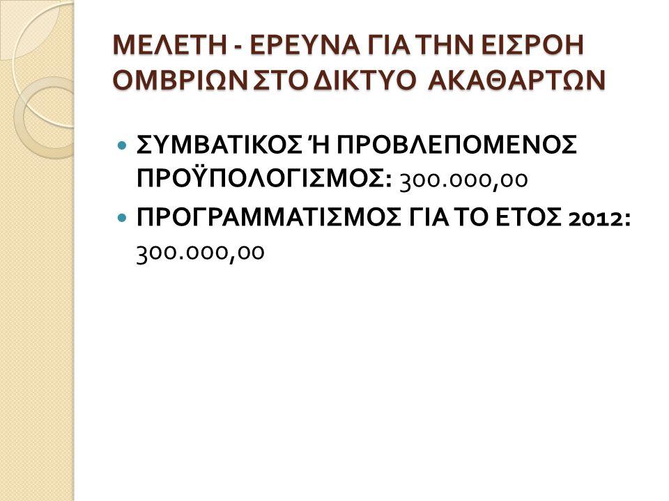 ΜΕΛΕΤΗ - ΕΡΕΥΝΑ ΓΙΑ ΤΗΝ ΕΙΣΡΟΗ ΟΜΒΡΙΩΝ ΣΤΟ ΔΙΚΤΥΟ ΑΚΑΘΑΡΤΩΝ  ΣΥΜΒΑΤΙΚΟΣ Ή ΠΡΟΒΛΕΠΟΜΕΝΟΣ ΠΡΟΫΠΟΛΟΓΙΣΜΟΣ : 300.000,00  ΠΡΟΓΡΑΜΜΑΤΙΣΜΟΣ ΓΙΑ ΤΟ ΕΤΟΣ 201