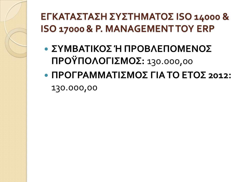 ΕΓΚΑΤΑΣΤΑΣΗ ΣΥΣΤΗΜΑΤΟΣ ISO 14000 & ISO 17000 & P. MANAGEMENT ΤΟΥ ERP  ΣΥΜΒΑΤΙΚΟΣ Ή ΠΡΟΒΛΕΠΟΜΕΝΟΣ ΠΡΟΫΠΟΛΟΓΙΣΜΟΣ : 130.000,00  ΠΡΟΓΡΑΜΜΑΤΙΣΜΟΣ ΓΙΑ ΤΟ