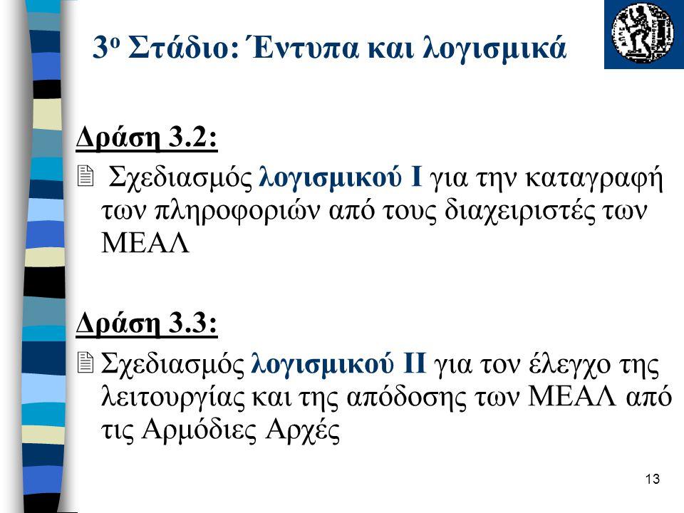 13 Δράση 3.2:  Σχεδιασμός λογισμικού Ι για την καταγραφή των πληροφοριών από τους διαχειριστές των ΜΕΑΛ Δράση 3.3:  Σχεδιασμός λογισμικού ΙΙ για τον έλεγχο της λειτουργίας και της απόδοσης των ΜΕΑΛ από τις Αρμόδιες Αρχές 3 ο Στάδιο: Έντυπα και λογισμικά