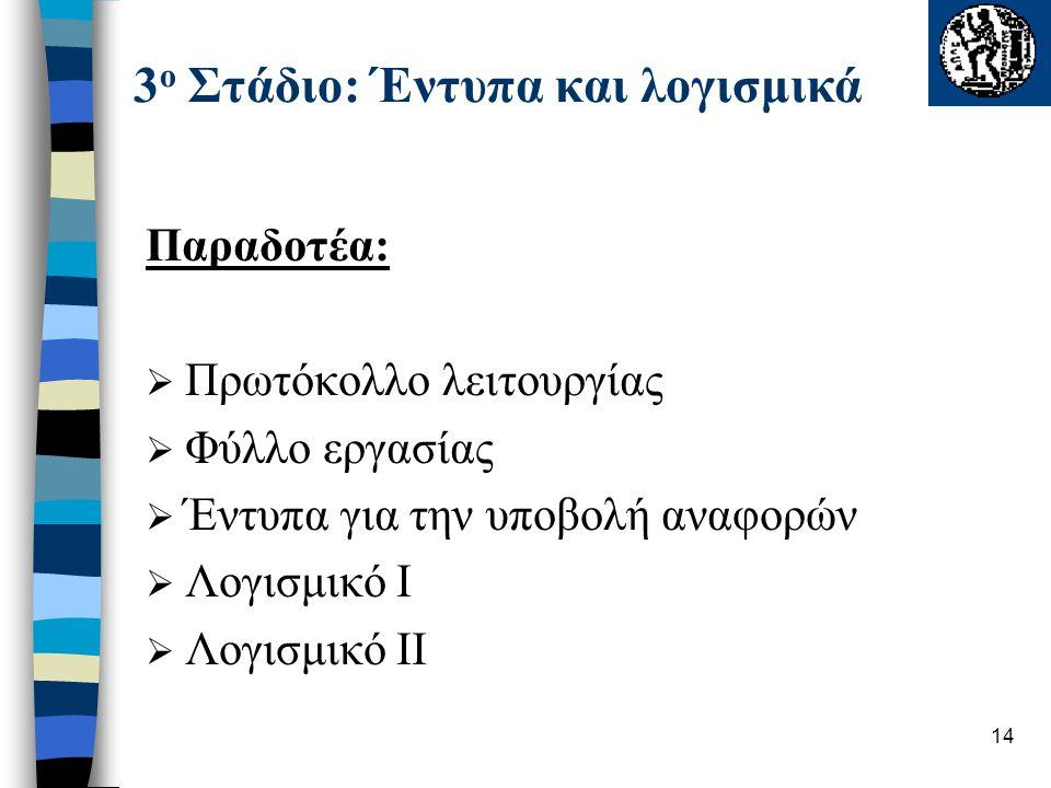 14 3 ο Στάδιο: Έντυπα και λογισμικά Παραδοτέα:  Πρωτόκολλο λειτουργίας  Φύλλο εργασίας  Έντυπα για την υποβολή αναφορών  Λογισμικό Ι  Λογισμικό ΙΙ