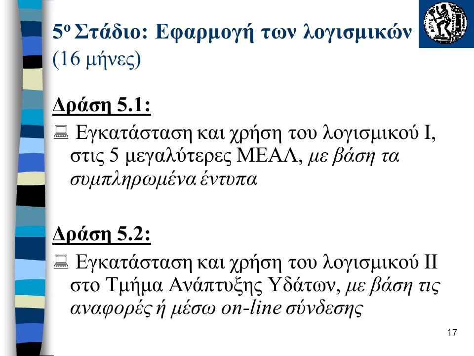 17 5 ο Στάδιο: Εφαρμογή των λογισμικών (16 μήνες) Δράση 5.1:  Εγκατάσταση και χρήση του λογισμικού Ι, στις 5 μεγαλύτερες ΜΕΑΛ, με βάση τα συμπληρωμέν