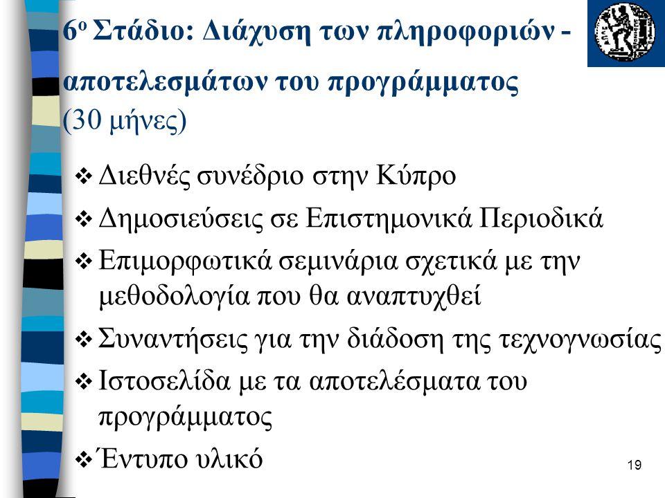 19  Διεθνές συνέδριο στην Κύπρο  Δημοσιεύσεις σε Επιστημονικά Περιοδικά  Επιμορφωτικά σεμινάρια σχετικά με την μεθοδολογία που θα αναπτυχθεί  Συναντήσεις για την διάδοση της τεχνογνωσίας  Ιστοσελίδα με τα αποτελέσματα του προγράμματος  Έντυπο υλικό 6 ο Στάδιο: Διάχυση των πληροφοριών - αποτελεσμάτων του προγράμματος (30 μήνες)