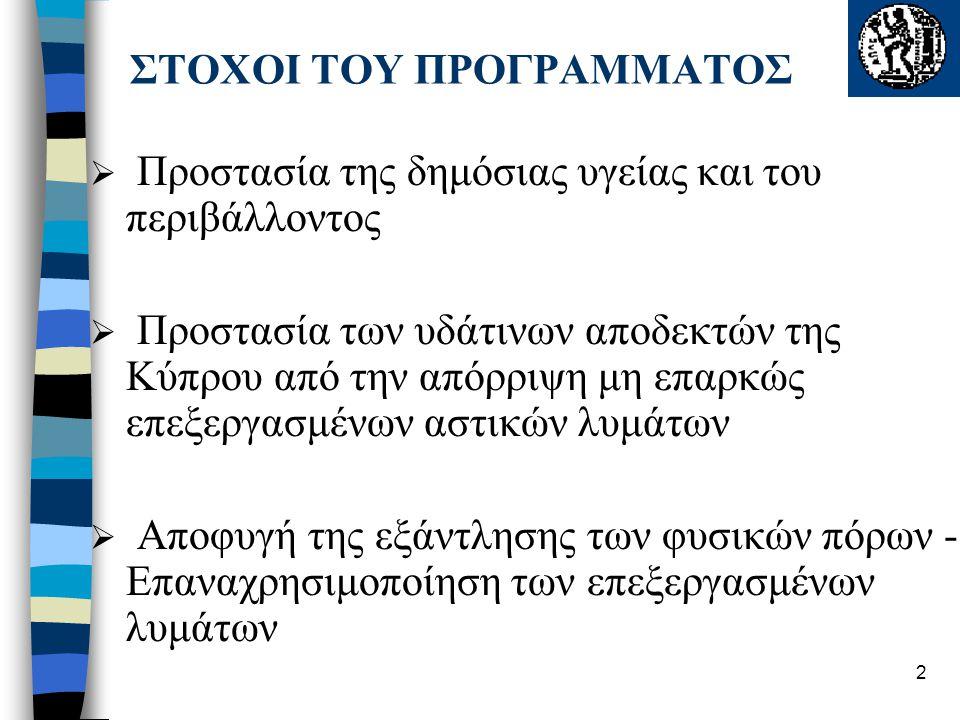 2 ΣΤΟΧΟΙ ΤΟΥ ΠΡΟΓΡΑΜΜΑΤΟΣ  Προστασία της δημόσιας υγείας και του περιβάλλοντος  Προστασία των υδάτινων αποδεκτών της Κύπρου από την απόρριψη μη επαρ