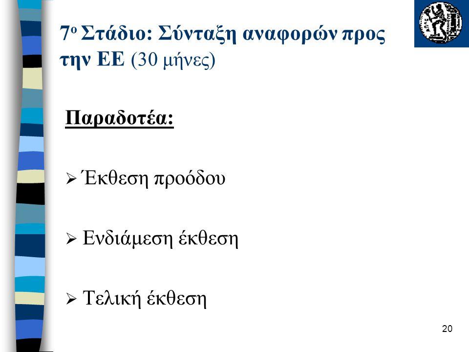 20 7 ο Στάδιο: Σύνταξη αναφορών προς την ΕΕ (30 μήνες) Παραδοτέα:  Έκθεση προόδου  Ενδιάμεση έκθεση  Τελική έκθεση