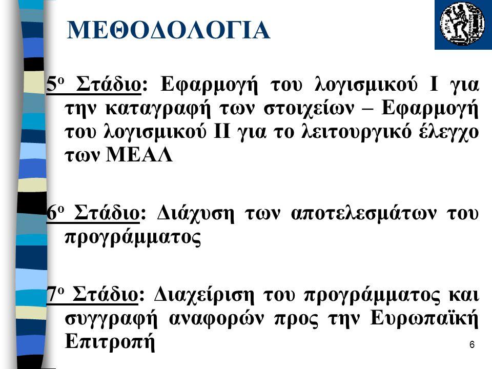 6 5 ο Στάδιο: Εφαρμογή του λογισμικού I για την καταγραφή των στοιχείων – Εφαρμογή του λογισμικού II για το λειτουργικό έλεγχο των ΜΕΑΛ 6 ο Στάδιο: Διάχυση των αποτελεσμάτων του προγράμματος 7 ο Στάδιο: Διαχείριση του προγράμματος και συγγραφή αναφορών προς την Ευρωπαϊκή Επιτροπή ΜΕΘΟΔΟΛΟΓΙΑ