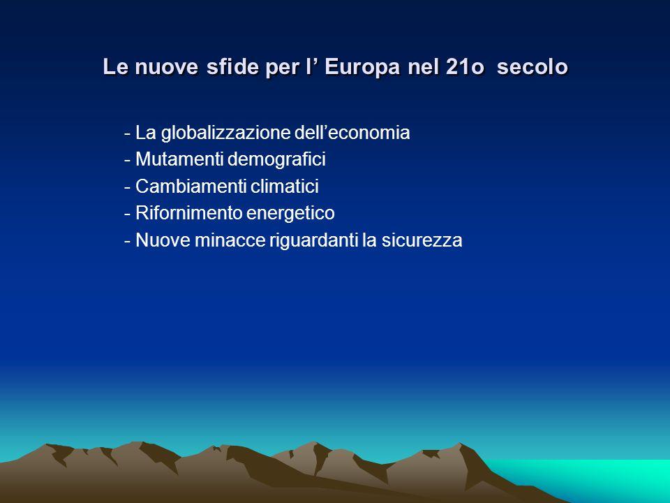 Le nuove sfide per l' Europa nel 21o secolo - La globalizzazione dell'economia - Mutamenti demografici - Cambiamenti climatici - Rifornimento energetico - Nuove minacce riguardanti la sicurezza