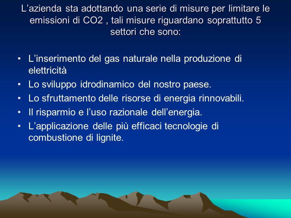 L'azienda sta adottando una serie di misure per limitare le emissioni di CO2, tali misure riguardano soprattutto 5 settori che sono: •L'inserimento del gas naturale nella produzione di elettricità •Lo sviluppo idrodinamico del nostro paese.
