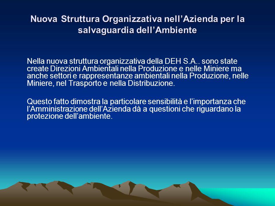 Nuova Struttura Organizzativa nell'Azienda per la salvaguardia dell'Ambiente Nella nuova struttura organizzativa della DΕΗ S.A..