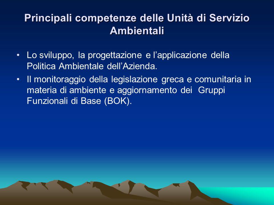 Principali competenze delle Unità di Servizio Ambientali •Lo sviluppo, la progettazione e l'applicazione della Politica Ambientale dell'Azienda.