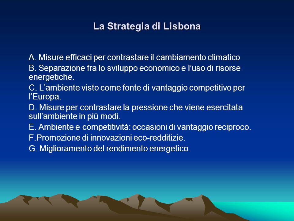 La Strategia di Lisbona Α. Misure efficaci per contrastare il cambiamento climatico Β.